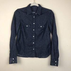 GAP Snap Closure Button Down Denim Shirt Sz XS